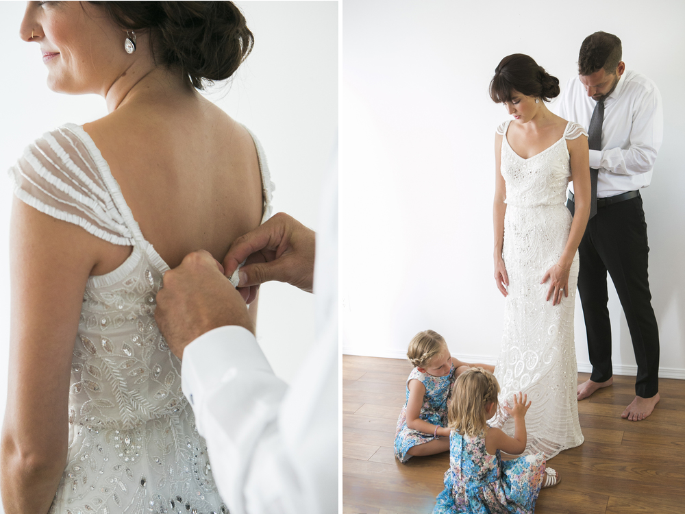 The girls are 3 and 5 and Magali's wedding dress was the closest thing to a Fairy Princess dress they had ever seen. Neither of them could stop playing with the delicate beading, it made my heart burst watching.