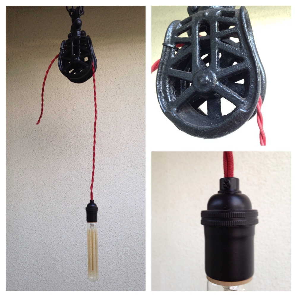 vintage picked barn pulley + red rayon twisted cord + matte black socket