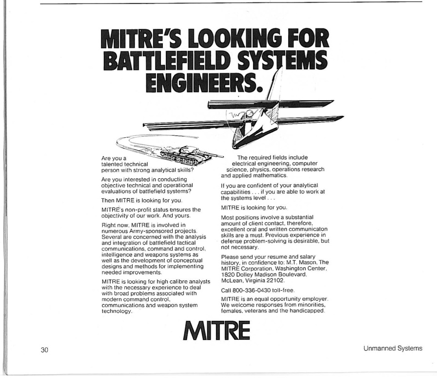 Mitre needs battlefield system engineers