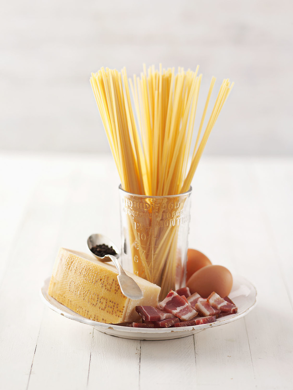 Food Photography Photographer London UK Spaghetti Parmesan Cheese Pancetta Egg