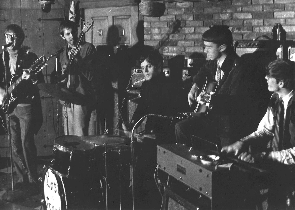 "Lost & Found circa 1967, practicing in Pierre   Fauteux's parent's basement - D'Arcy Draper said ""that's why we call ourselves ""Basement Boys"" from those times"". Left to right: Richard Brown,   Pierre Fauteux, Francois Jolicoeur,   D'Arcy Draper,   George Osborne."