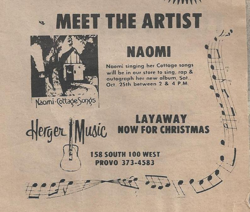 "Newspaper ad for a performance with Naomi and signing of the ""Cottage Songs"" album in a local record store."