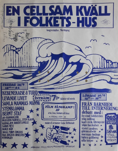 A concert in Norrköping where Ingegerd played together with progg artists like Kebenekaise, Samla mammas manna and Levande Livet (whixh was a later reincarnation of the band Sogmusobil)