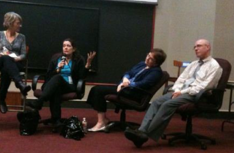 Experts? Yes, even if our posture is bad.From left: Julie Lake, Michelle Poploff, Me, and Arthur Levine in Austin 2011.