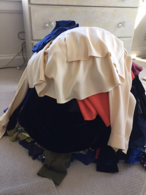 KonMari step one: pile ALL your tops on the floor.