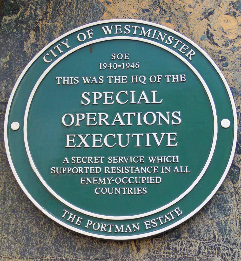 SOE plaque on the actual building today (2014)