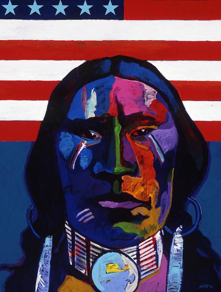 Plains Indian With Flag Ventana Fine Art Art Galleries Santa Fe Nm Contemporary Artist