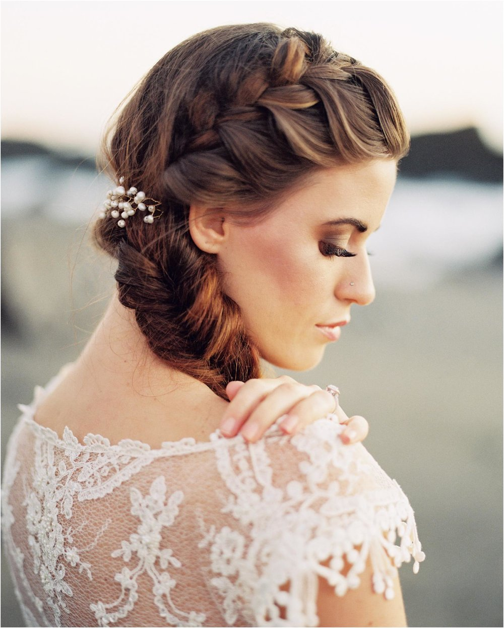 Seaside Bridal Session in Sonoma, California.   Dress: Claire Petibone https://clairepettibone.com/  Design & Florals: Thistle & Honey