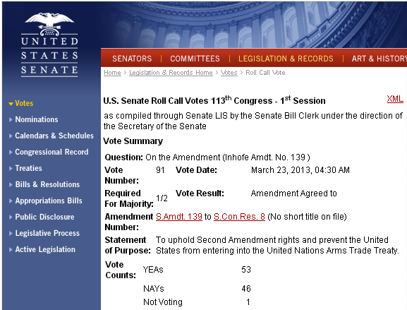 Screenshot of the United States Senate website detailing the Senate Bill language and voting outcome of Bill 139.