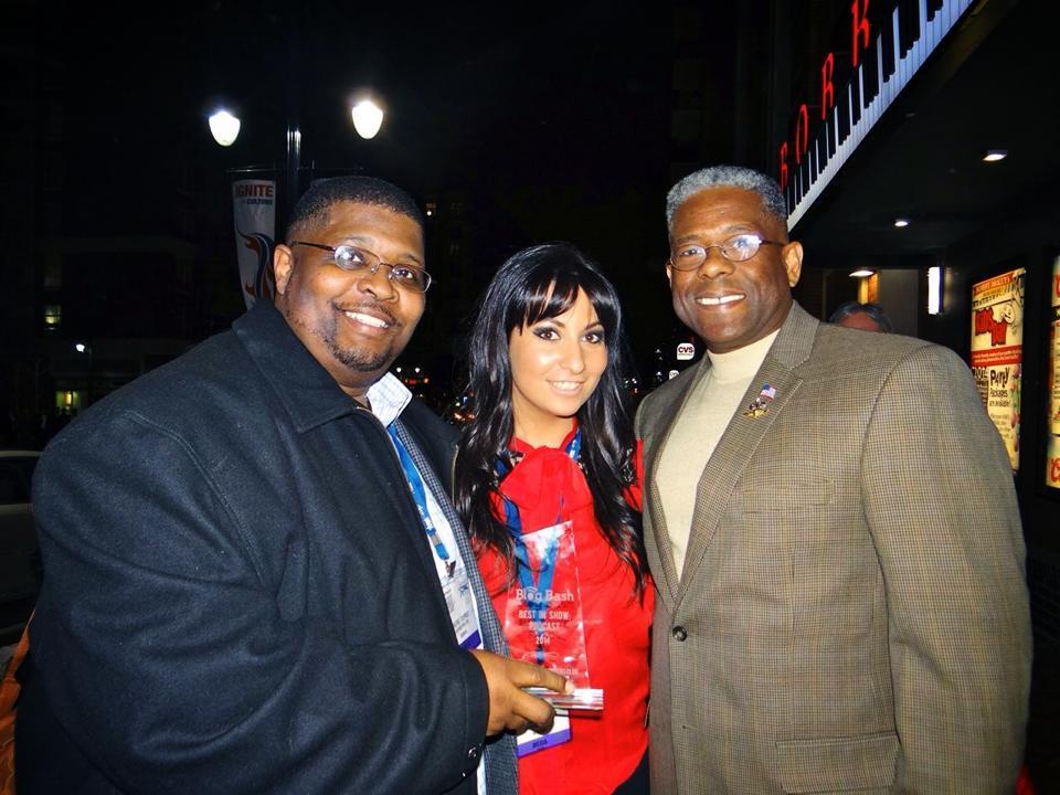 Wayne Dupree, Alyssa Krumm & Col. Allen West holding Podcast of the Year Award during Blog Bash 2014