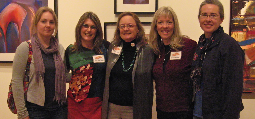 Marcia (center) with  WARM  protogées at Mentor-Protogée exhibit, Bloomington Art Center, MN, December 2010. Left to Right: Rashaun Kartak, Silvana LaCreta Ravena, the artist-mentor, Roxanne Richards, Mandy Chowen.