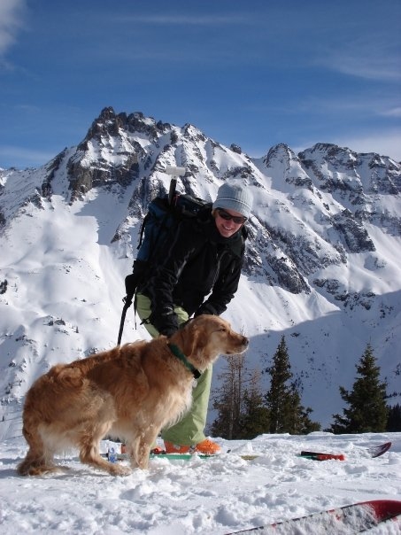 Julie Hodson and best pal Frankie skiing in Ophir, CO
