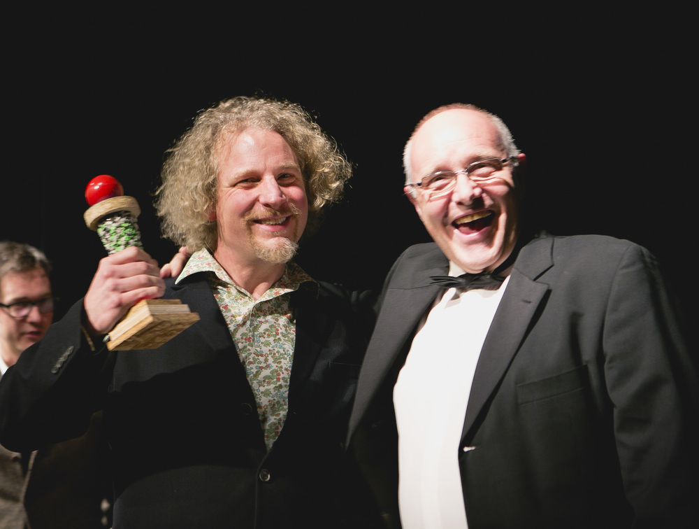 Olaf Furniss receives award from Creative Edinburgh chairman, Mark Gorman . Photo by  Eoin Carey