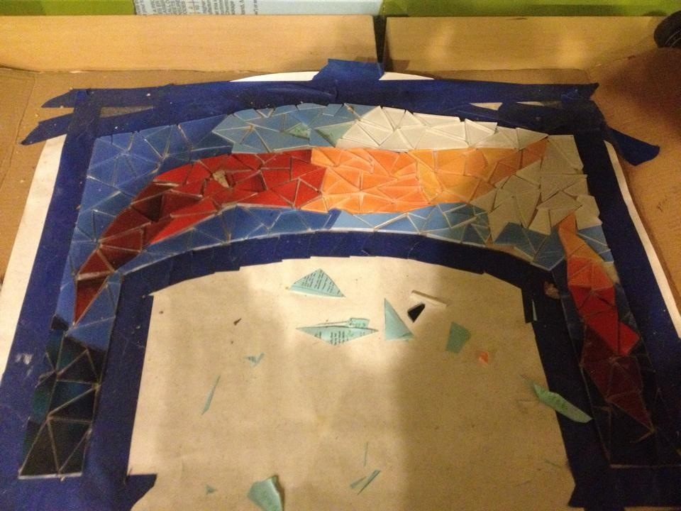 Here you can see the mosaic in process, being built on a temporary substrate.