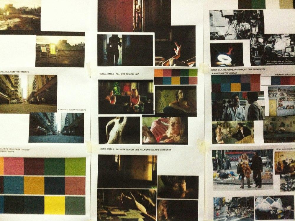Prancha com referências dadireção de arte. Cores, imagens, sensações que ficavam na parede da Novelo, para visualizarmos durante as reuniões.