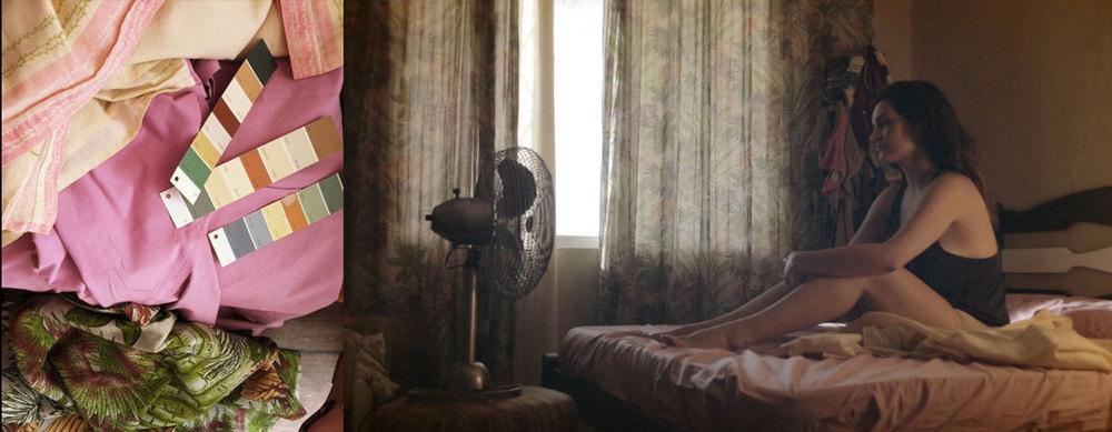 Tecidos e cores para o dressing do quarto da Jamila e depois o frame do filme finalizado.