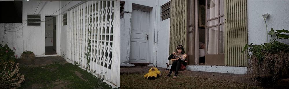 Aqui é a parte externa da casa. Não conseguimos entrar com pintura nas paredes por causa do tempo hábil e do clima úmido. Mas as cores na grade da porta quebrou o branco quase hospitalar de antes. Compraram grama para fazer o jardim e podaram as plantas em volta.