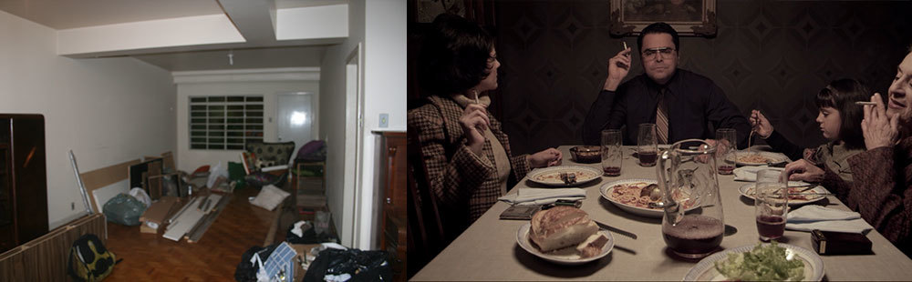 A imagem à esquerda é a sala da frente, como a recebemos. Foi ali, próximo à janela, que montamos a sala de jantar da família.
