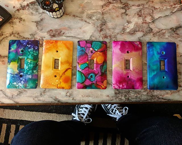 Fun with switch plates! #abstract #alcoholink #colorful #switchplates #homei
