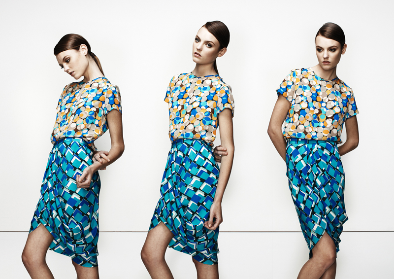 Heston basic shirt in Print worn with Cole printed drape skirt.