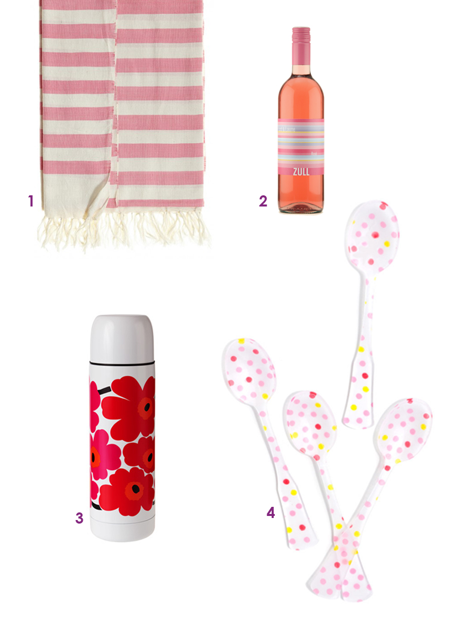 1. Striped Beach Towel, Calypso  2. Rose, Zull Wines   3. Insulated Bottle, Marimekko 4. Confetti Dot Teaspoon Set, LEIF