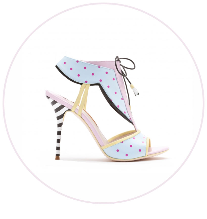 Leilou Baby Blue, Fuchsia Polkadot and Pastel Lilac Leather Sandal