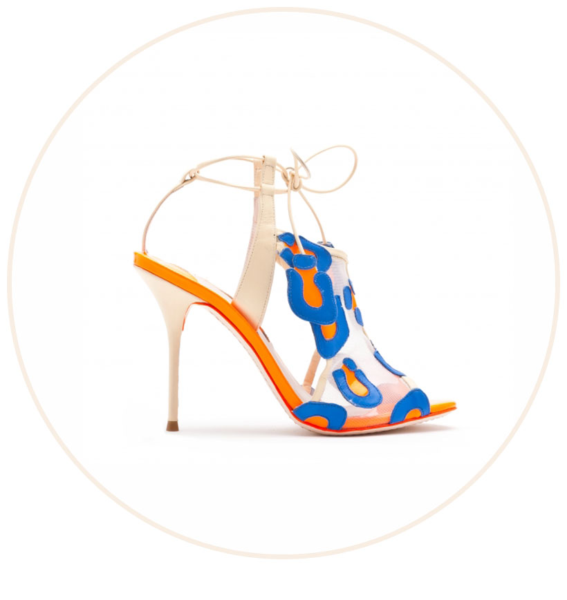 Blake Strong Blue and Fluro Orange Leopard Leather and Mesh Sandal