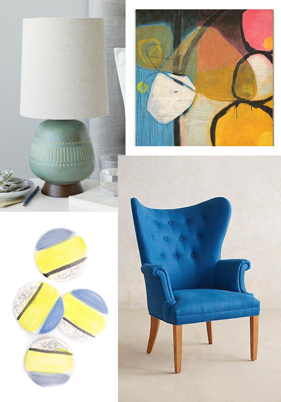 Clockwise from top left:  Mid-Century Table Lamp /West Elm;  You Can Print /West Elm;  Tufted Wingback Chair /Anthropologie;  Sea Scribble Coaster /LEIF