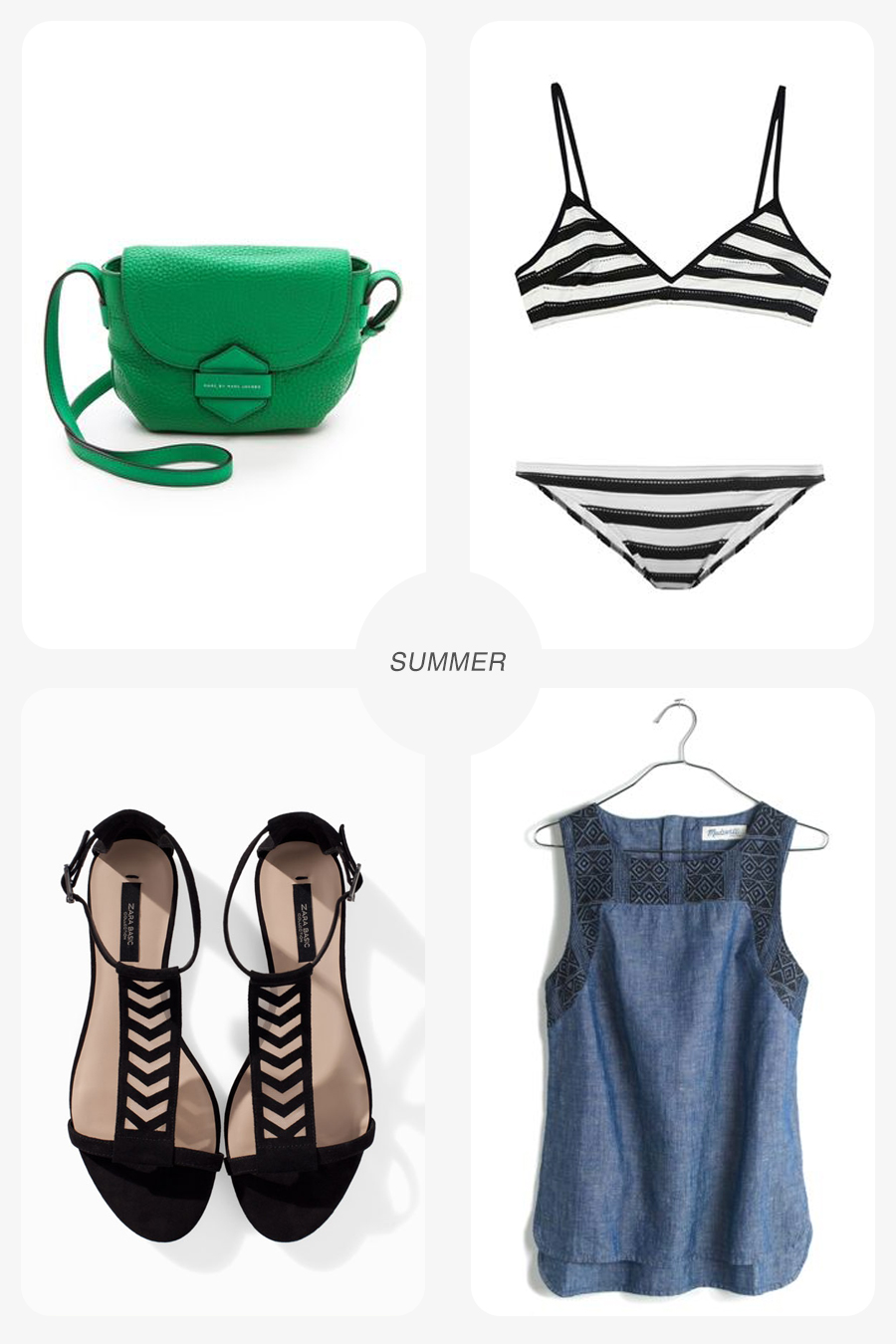 Clockwise from top left: Marc by Marc Jacobs bag/ Shopbop ; Chloe Swimwear/ MatchesFashion ; Linen Shirt/ Madewell ; Lattice sandal/ Zara