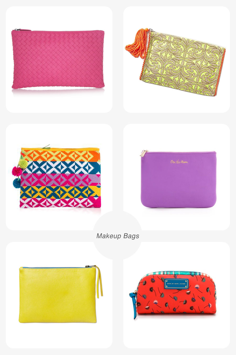 Left to right: Bottega Veneta/ Net-A-Porter ; Solana Clutch/ Anthropologie ; Sophie Anderson Clutch/ Net-A-Porter ; Rebecca Minkoff/ Shopbop ; Leather Zipper Case/ West Elm ; Marc by Marc Jacobs/ Shopbop