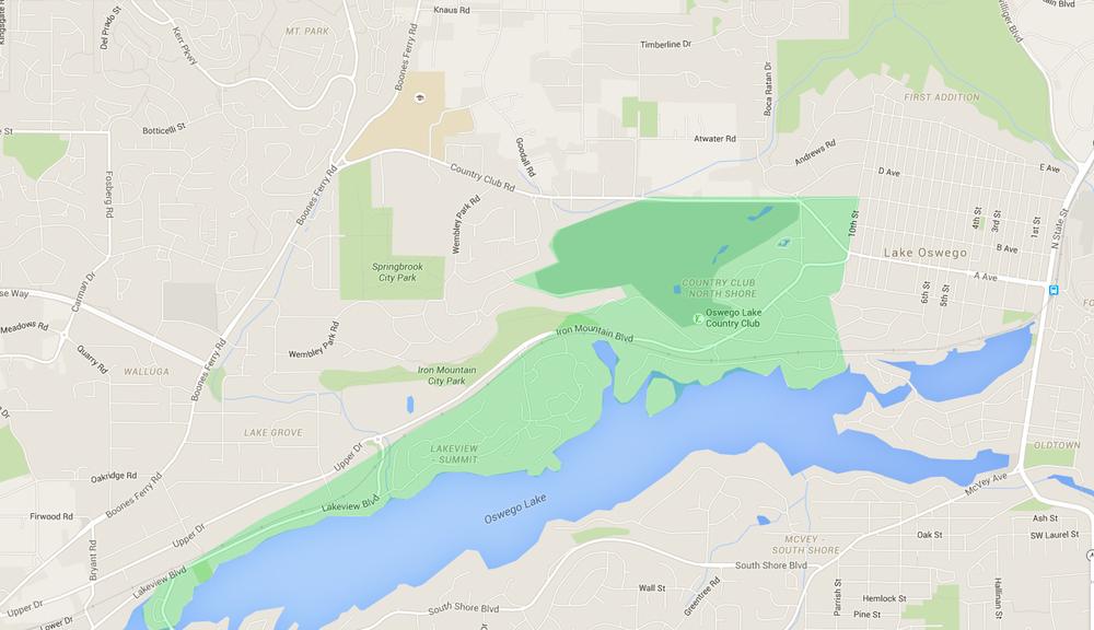 map of houses in north shore, a lake oswego neighborhood