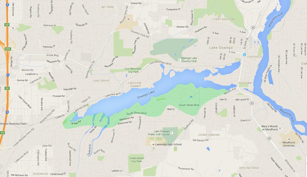 map of houses in south shore, a lake oswego neighborhood