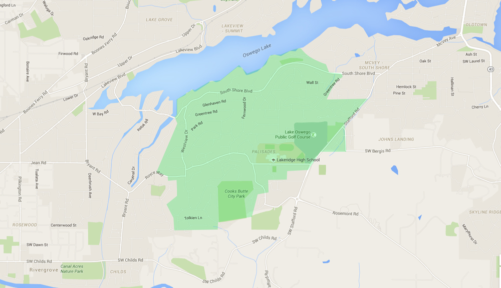 map of houses in palisades, a lake oswego neighborhood