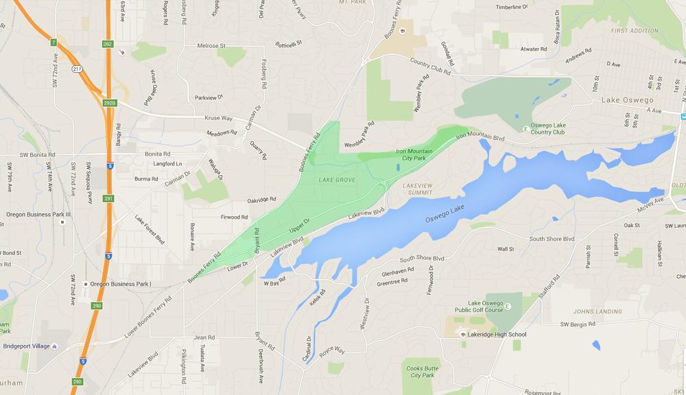 map of houses in lake grove, a lake oswego neighborhood