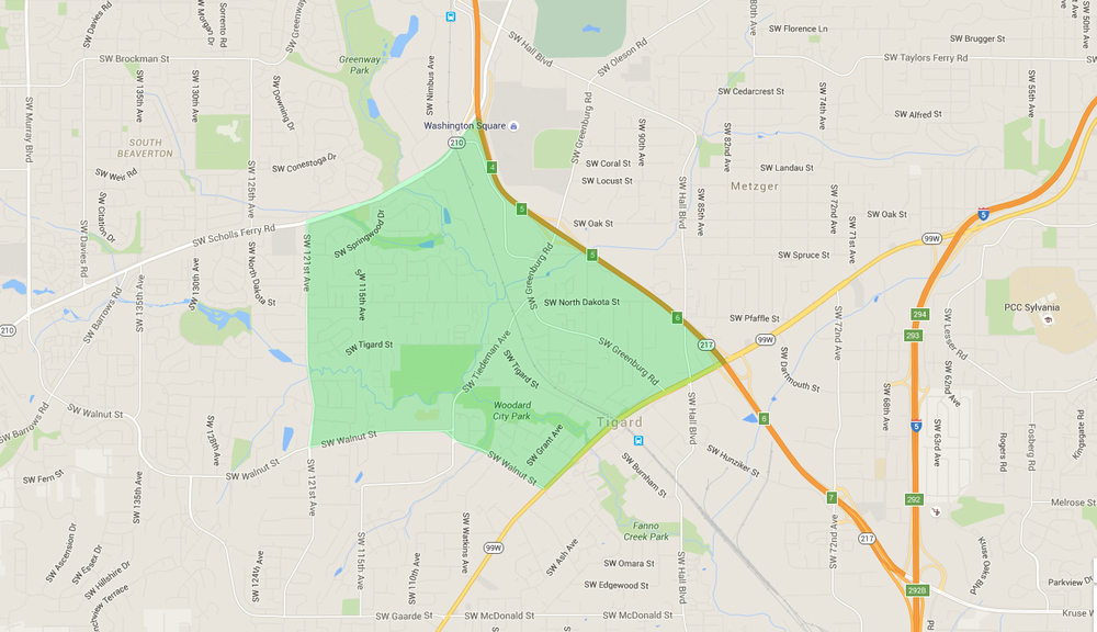map of houses in greenburg, a tigard neighborhood