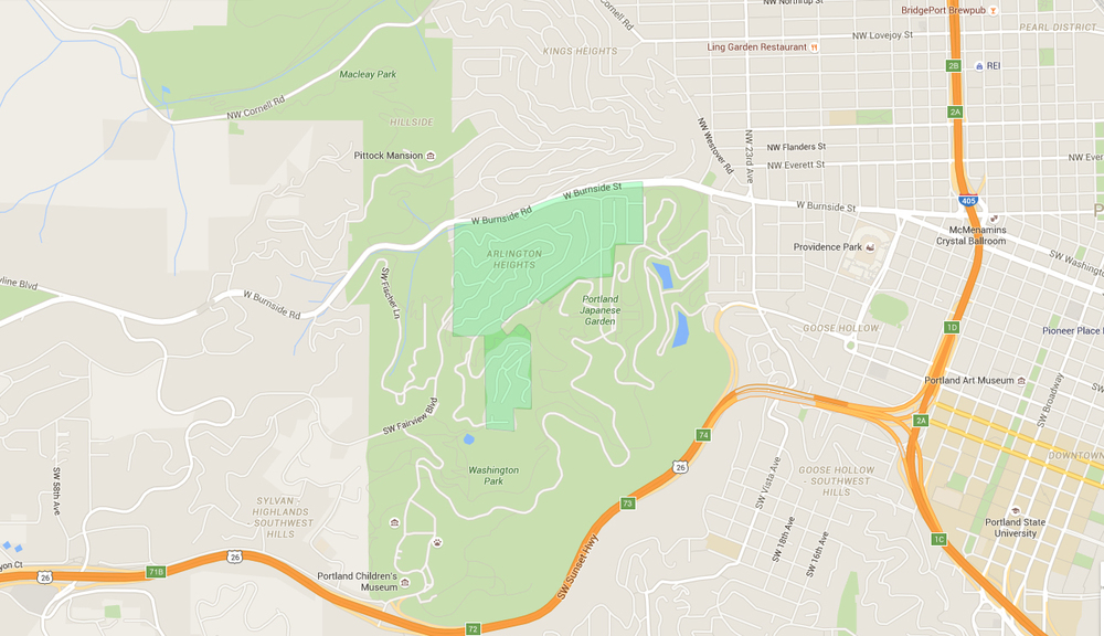 map of houses in arlington heights, a west portland neighborhood