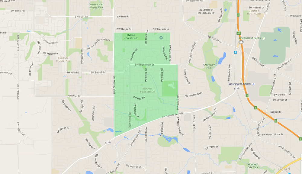 map of houses in south beaverton neighborhood
