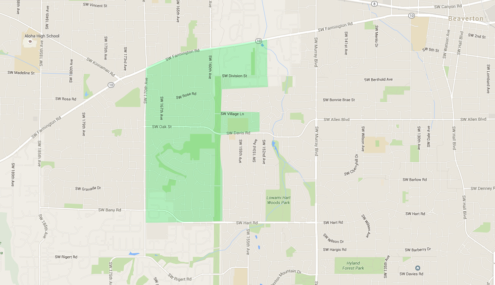 map of houses in west beaverton neighborhood