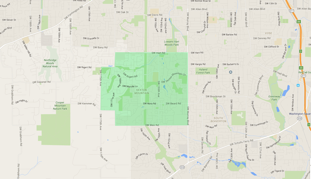 map of houses in sexton mountain beaverton neighborhood