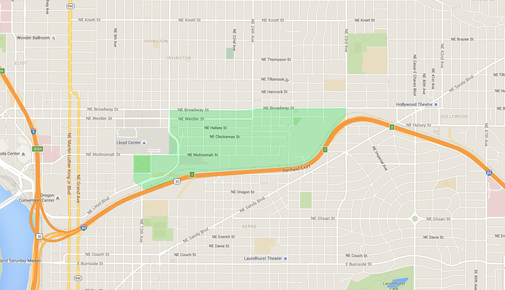 map of houses in sullivan's gulch, an east portland neighborhood