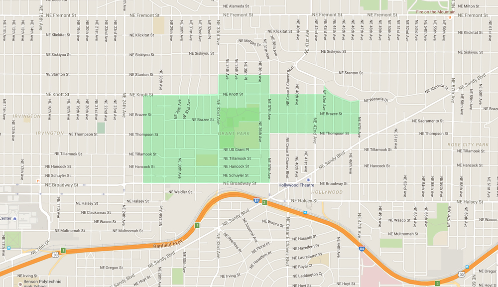 map of houses in grant park, an east portland neighborhood