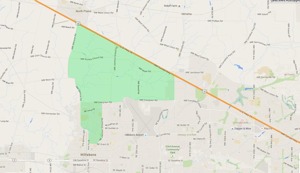 map of houses in jackson school hillsboro neighborhood