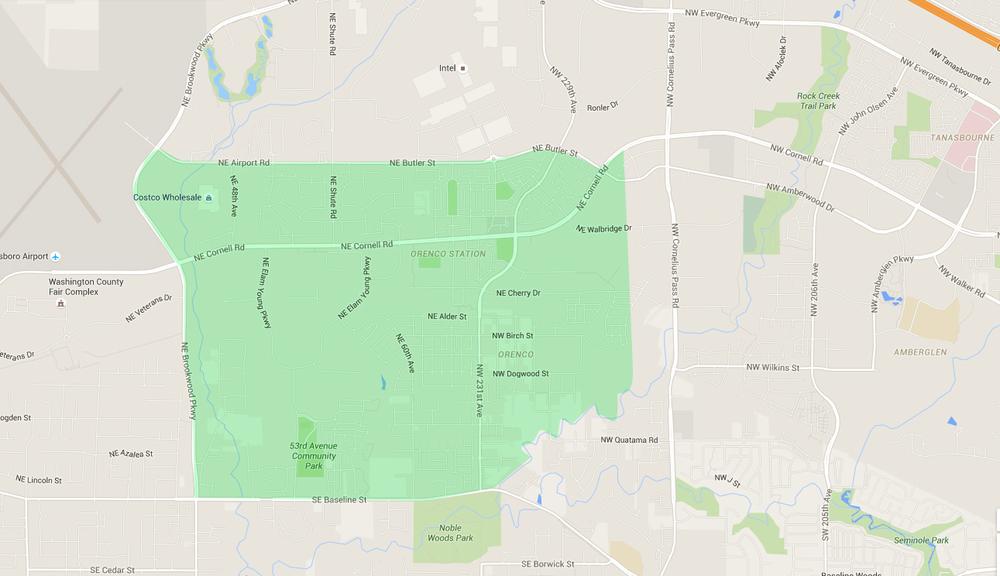 map of houses in orenco hillsboro neighborhood