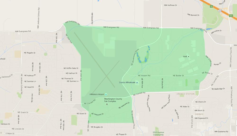 map of houses in northeast cornell hillsboro neighborhood