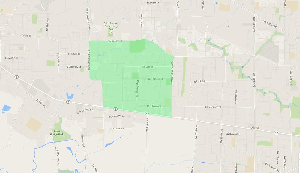 map of houses in reedville hillsboro neighborhood