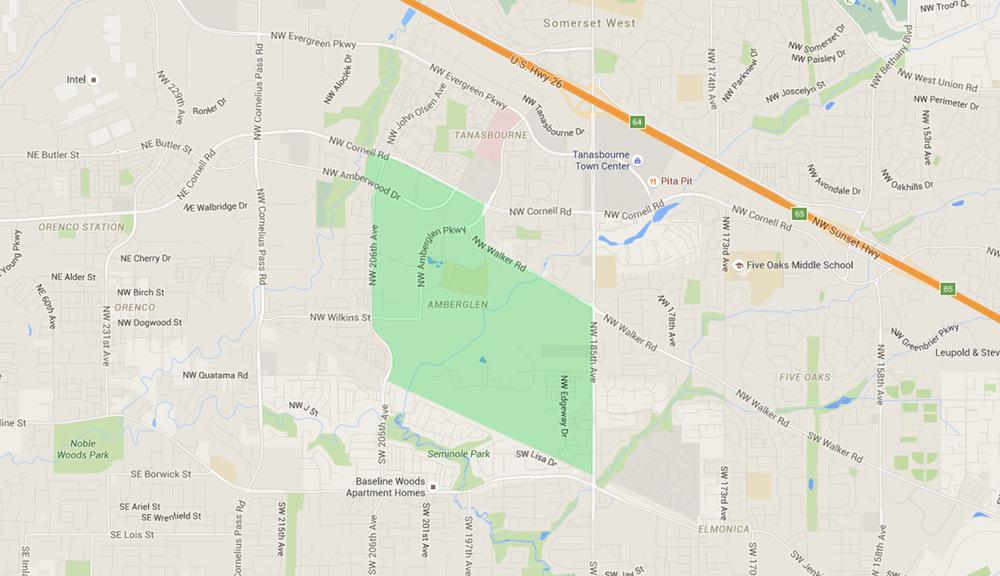 map of houses in amber glen hillsboro neighborhood