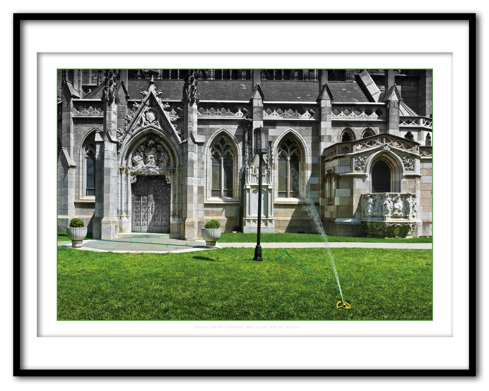 Church Yard With Sprinkler - East Village, NYC, NY - 5.12.16- Framed.jpg
