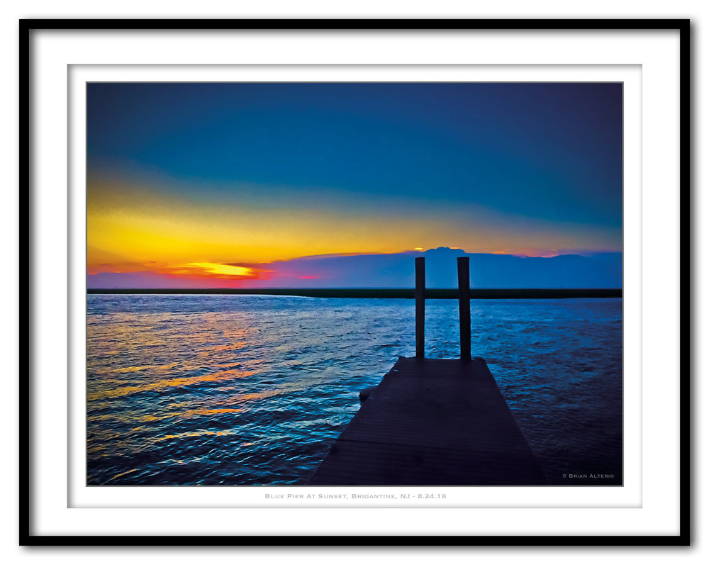 Blue Pier At Sunset, Brigantine, NJ - 8.24.16 - Framed.jpg