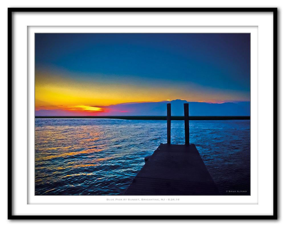Blue Pier At Sunset, Brigantine, NJ - 8.24.16 - Framed.jpg