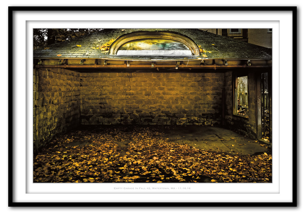Empty Garage In Fall #2, Watertown, MA - 11.16.16 - Framed.jpg